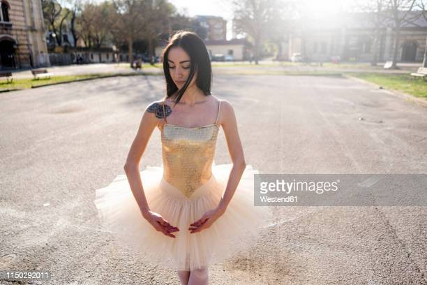Italy, Verona, portrait of Ballerina in the city