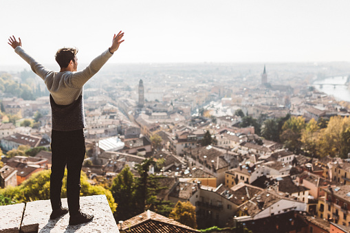 Italy, Verona, tourist standing at obversation point - gettyimageskorea