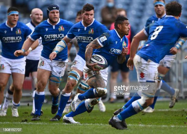 Italy wing Montanna Ioane in action during the Guinness Six Nations match between Scotland and Italy at Murrayfield on March 20, 2021 in Edinburgh,...