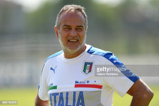 Italy Women head coach Antonio Cabrini looks on during the friendly match between Italy Women and Italy U23 Women at Novarello Training Center on May...
