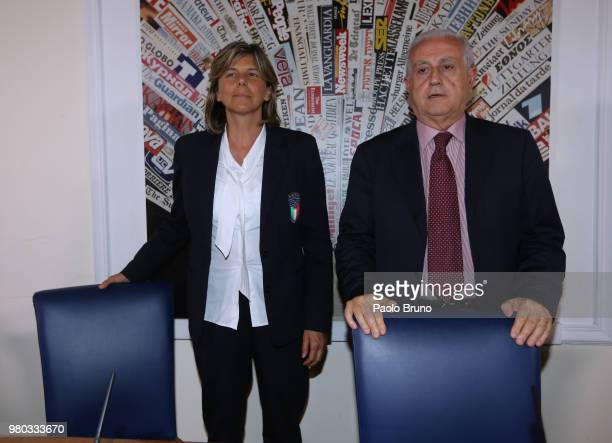 Italy women head coach Milena Bertolini and FIGC Commissioner Roberto Fabbriciini attend an Italian Football Federation press conference on June 21...