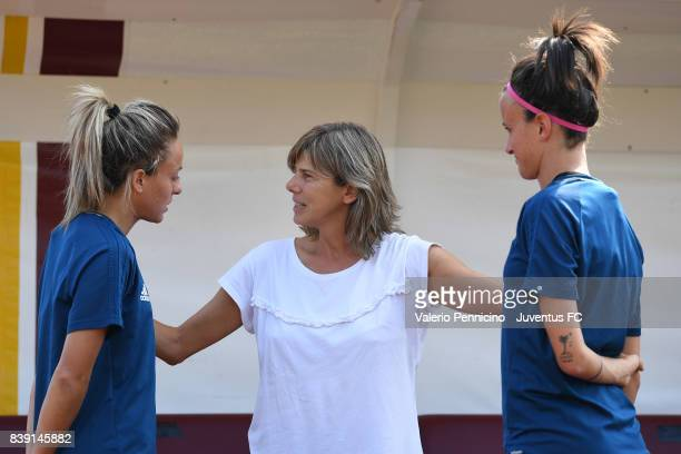 Italy Women head coach Milena Bertolini talks with Martina Rosucci and Barbara Bonansea of Juventus Women during a Juventus Women Training Session at...