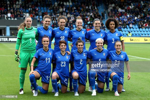 Italy Women lines up of Italy Women before the International Friendly match between Italy Women and Switzerland Women