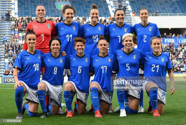 Italy Women team line up during the International Friendly match between Italy Women and Ireland Women at Mapei Stadium Città del Tricolore on April...