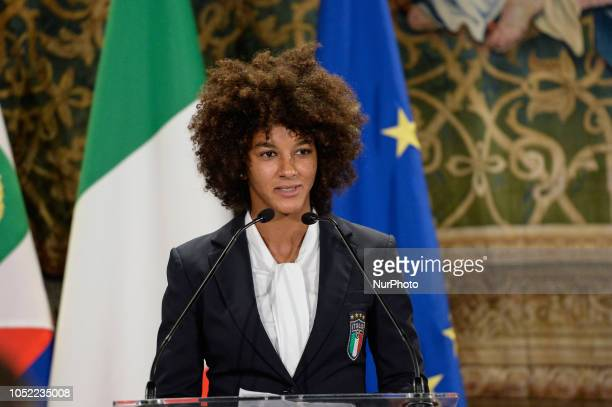 Italy women team player Sara Gama during Ceremony for the 120th anniversary of the foundation of the Italian Football Association at Quirinale Palace...
