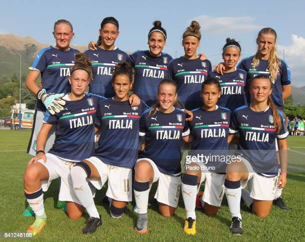 Italy Women U17 team poses during the friendly match between Italy Women U17 and Greece Women U17 on August 31 2017 in Norcia Italy