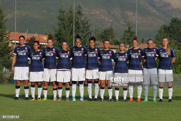 Italy Women U17 team sing their National Anthem during the friendly match between Italy Women U17 and Greece Women U17 on August 31 2017 in Norcia...
