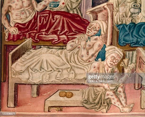 Italy XVI century Manuscript of the vernacular text 'La Franceschina' Plague victims in Perugia Illumination