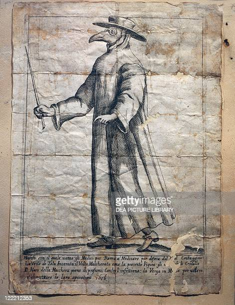 Italy XVII century The plague doctor used to wear a waxed coat a sort of protective goggles and gloves the beak of their masks contained aromatic...