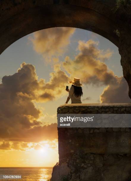 italy. young woman on the amalfi coast. - premium access stock pictures, royalty-free photos & images