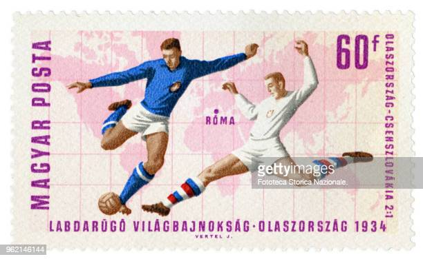 ItalyCzechoslovakia 2 to 1 the final game of the World Championships in Rome in 1934 Stamp of a series issued by the Hungarian Post at the World...