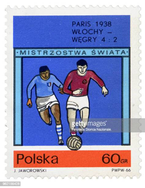 Italy-Hungary 4 to 2, final match of the June 19, 1938 World Cup in Paris. Stamp issued by the Polish Post on the occasion of the football world...