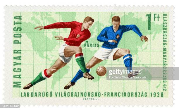 ItalyHungary 4 to 2 the final game of the World Championships in Paris in 1938 Stamp of a series issued by the Hungarian Post the World Football...