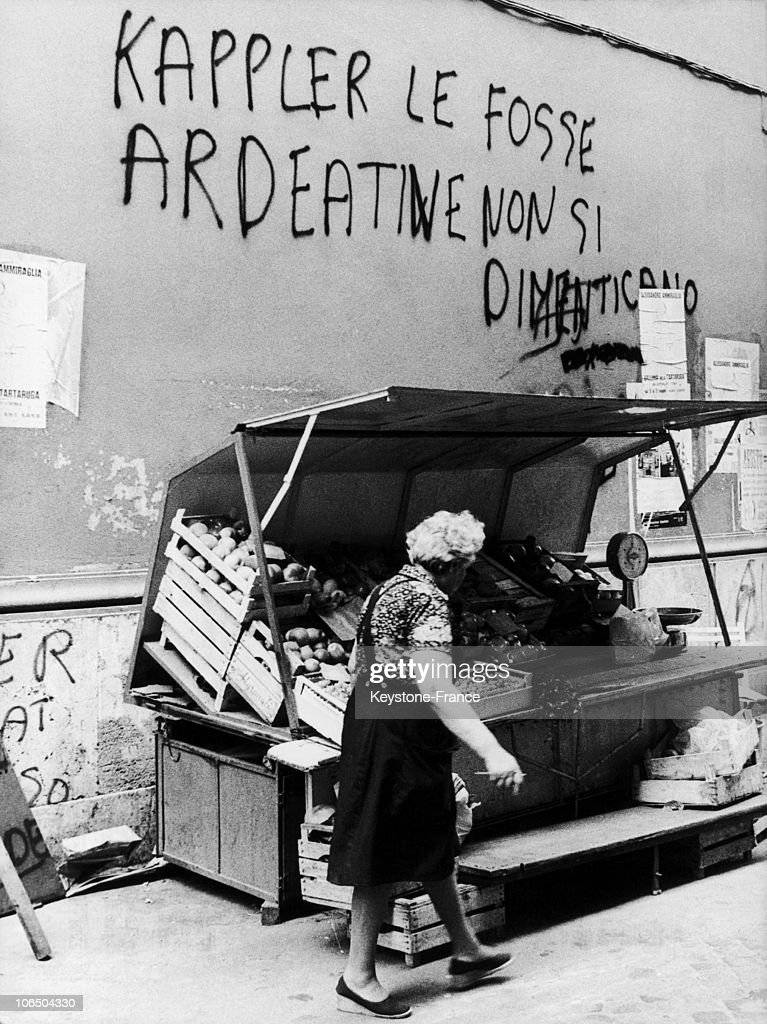 Writings Against The Release Of The ss Colonel Kappler Responsible Of The Fosse Ardeatine Massacre.70S. : News Photo