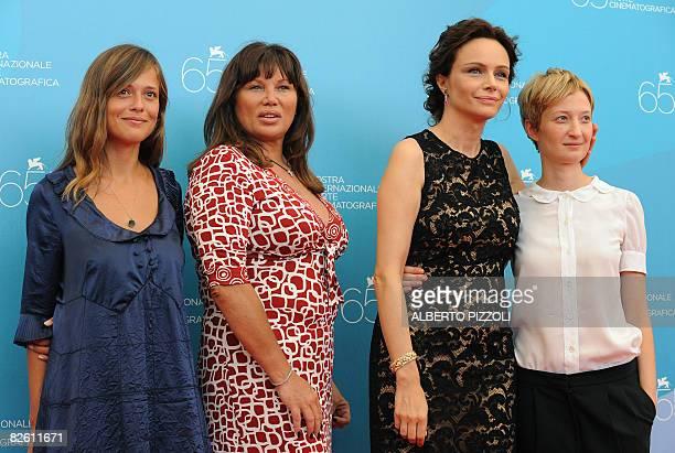 Italy's actresses Valeria Bilello Serena Grandi Francesca Neri and Alba Rohrwacher pose during the photocall of the movie Il Papa Di Giovanna...