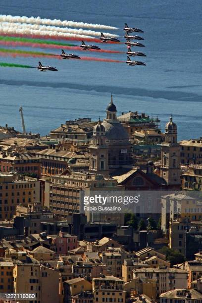 Italy's aerobatic team Frecce Tricolori fly over Genoa as part of celebrations for the 74th anniversary of the proclamation of the Italian Republic...