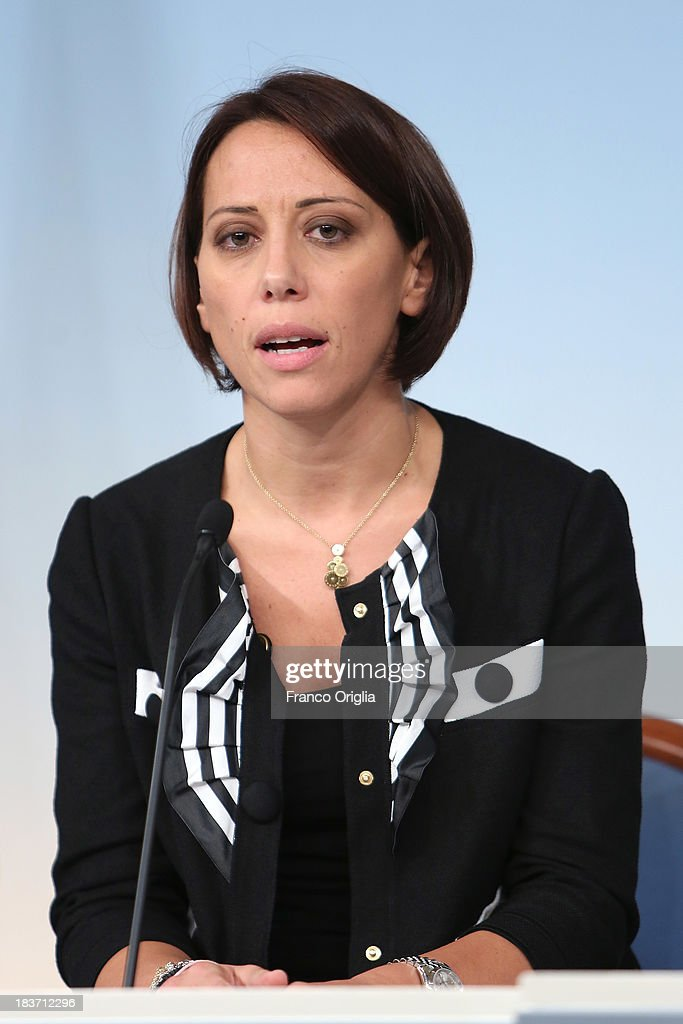 Italy's Agriculture minister Nunzia De Girolamo of the PDL (centre-right party led by Silvio Berlusconi) attends a press conference at Palazzo Chigi on October 9, 2013 in Rome, Italy. After asking all his ministers to resign, Silvio Berlusconi changed his mind and voted in support of the government as Prime Minister Enrico Letta gained the confidence vote at the Italian Senate on October 2nd.