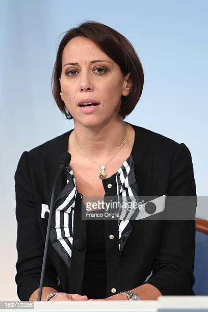 Italy's Agriculture minister Nunzia De Girolamo of the PDL attends a press conference at Palazzo Chigi on October 9 2013 in Rome Italy After asking...