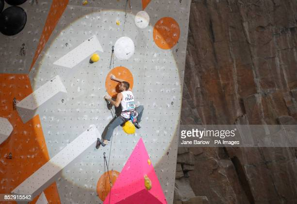Italy's Alberto Gotta climbs in the lead semifinals during the IFSC Climbing World Cup at the Edinburgh International Climbing Arena