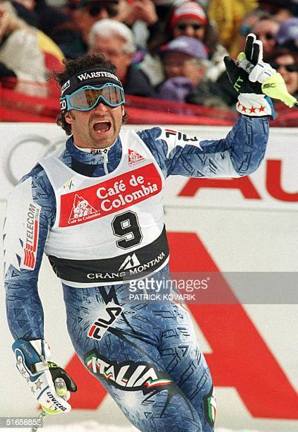 Italy's Alberto Tomba celebrates after winning the men's slalom at the World Cup event in Crans Montana 15 March Tomba won his 50th World Cup race...