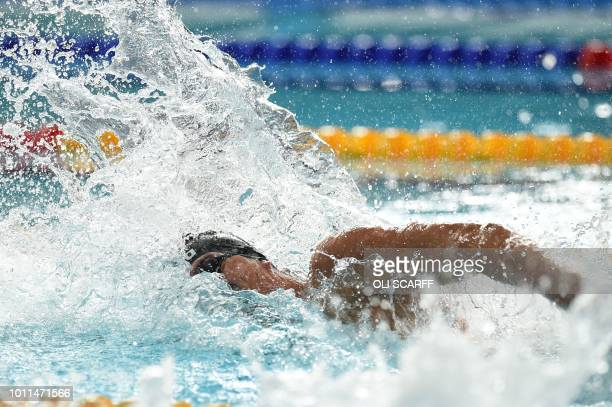 Italy's Alessandro Miressi competes in the Men's 100m freestyle swimming final at the Tollcross swimming centre during the 2018 European...