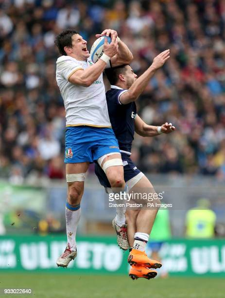 Italy's Alessandro Zanni and Scotland's Sean Maitland go for the ball during the NatWest 6 Nations match at the Stadio Olimpico Rome