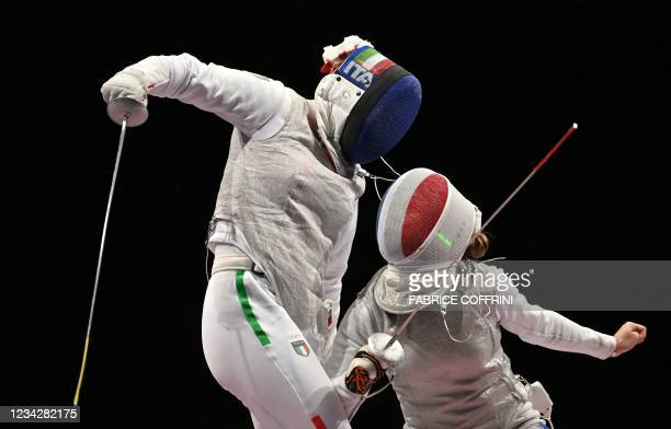 Italy's Alice Volpi compete against France's Pauline Ranvier in the women's foil team semifinal bout during the Tokyo 2020 Olympic Games at the...