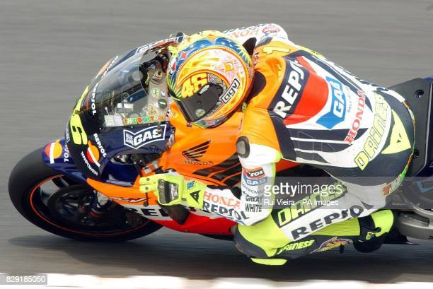 Italy's and Honda rider Valentino Rossi qualifies in pole position for tomorrow's British Motorcycle Grand Prix at Donington, Leicestershire....