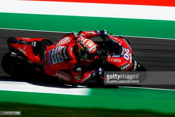 Italy's Andrea Dovizioso rides his Ducati during free practice 3 ahead the Italian Moto GP Grand Prix at the Mugello race track on June 1 2019 in...