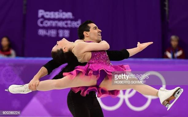 Italy's Anna Cappellini and Italy's Luca Lanotte compete in the ice dance short dance of the figure skating event during the Pyeongchang 2018 Winter...