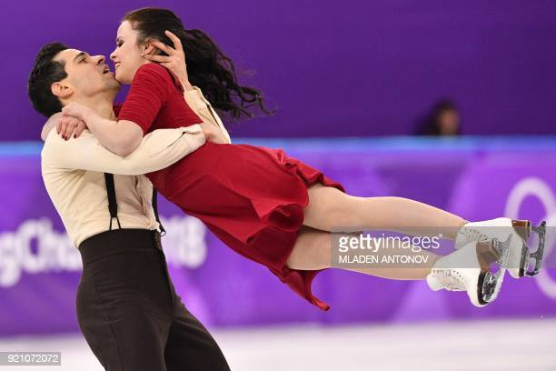 TOPSHOT Italy's Anna Cappellini and Italy's Luca Lanotte compete in the ice dance free dance of the figure skating event during the Pyeongchang 2018...