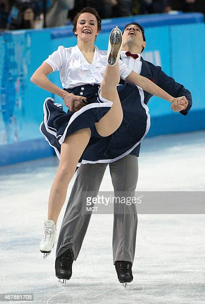 Italy's Anna Cappellini and Luca Lanotte perform during the team pairs ice dance short dance program at the Iceberg Skating Palace at the Winter...