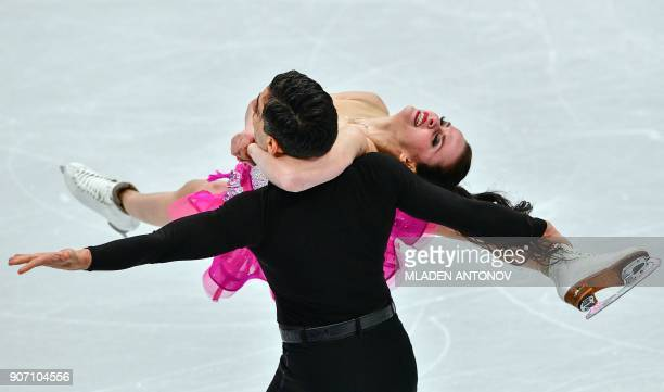 TOPSHOT Italy's Anna Cappellini and Luca Lanotte perform during their ice dance short dance at the ISU European Figure Skating Championships in...