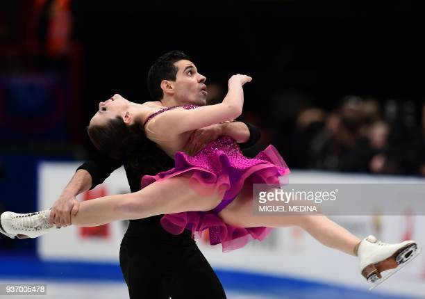 Italy's Anna Cappellini and Luca Lanotte perform from during the Ice Dance Short Dance program at the Milano World Figure Skating Championship 2018...