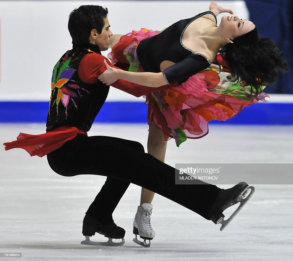 Italy's Anna Cappellini and Luca Lanotte perform their original dance at the Dom Sportova Arena in Zagreb, 24 January 2008, during the European Figure Skating Championships 2008.