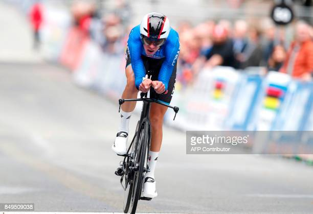 Italy's Antonio Puppio competes to place second of the men's junior individual time trial at the UCI Cycling Road World Championships on September 19...