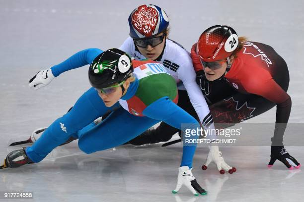 Italy's Arianna Fontana South Korea's Choi Minjeong and Canada's Kim Boutin compete in the women's 500m short track speed skating A final event...