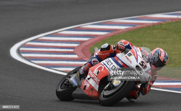 Italy's biker Danilo Petrucci rides his Ducati get the 4th grid place during the MotoGP Qualifying Q2 classification of the Argentina Grand Prix at...