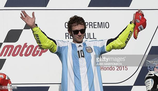 Italy's biker Valentino Rossi of Yamaha celebrates on the podium after winning the Argentina Grand Prix at Termas de Rio Hondo circuit, in Santiago...