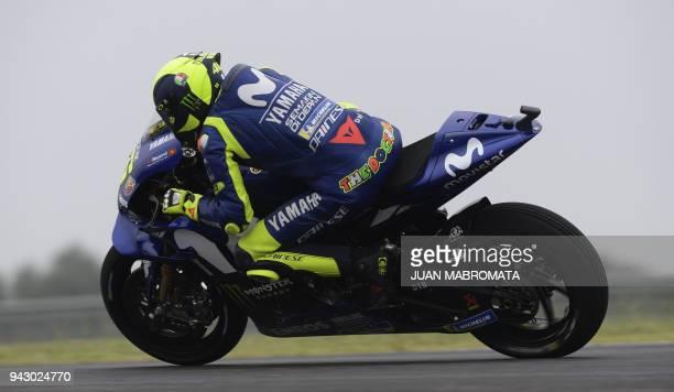Italy's biker Valentino Rossi, rides his Yamaha during the MotoGP free practice of the Argentina Grand Prix at Termas de Rio Hondo circuit, in...