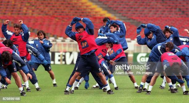 Italy's Captain Paulo Maldini training with the rest of his team at Wembley Stadium this afternoon before the World cup Qualifying match against...