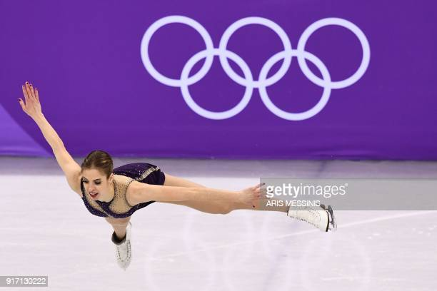 Italy's Carolina Kostner competes in the figure skating team event women's single skating free skating during the Pyeongchang 2018 Winter Olympic...