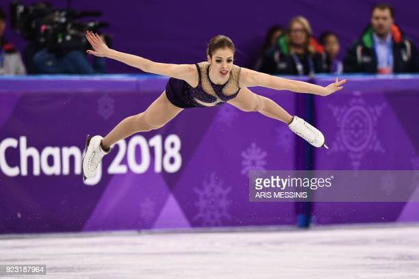 TOPSHOT Italy's Carolina Kostner competes in the women's single skating free skating of the figure skating event during the Pyeongchang 2018 Winter...