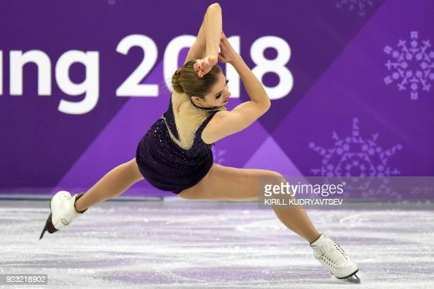 Italy's Carolina Kostner competes in the women's single skating free skating of the figure skating event during the Pyeongchang 2018 Winter Olympic...