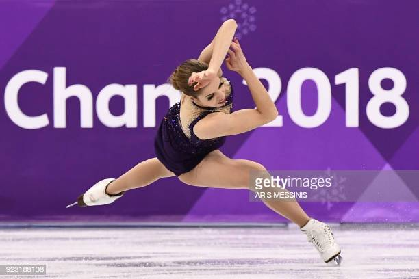 TOPSHOT Italy's Carolina Kostner falls as she competes in the women's single skating free skating of the figure skating event during the Pyeongchang...