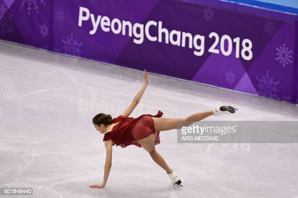 Italy's Carolina Kostner falls in the women's single skating short program of the figure skating event during the Pyeongchang 2018 Winter Olympic...
