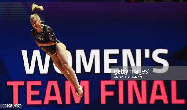 Italy's Caterina Careghetti competes in the women's team final of the artistic gymnastics at the SSE Hydro during the 2018 European Championships in...