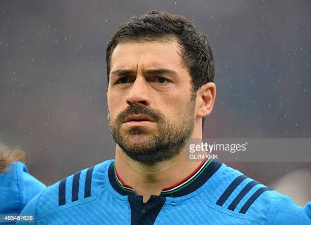 Italy's centre Andrea Masi lines up before the Six Nations international rugby union match between England and Italy at Twickenham Stadium southwest...
