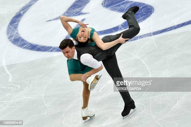 Italy's Charlene Guignard and Marco Fabbri perform during their ice dance free dance event at the ISU European Figure Skating Championships, in...