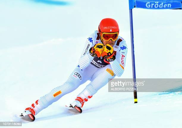 Italy's Christof Innerhofer competes in the FIS Alpine World Cup Men Super G on December 14 2018 in Val Gardena Groeden Italian Alps